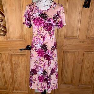 NWT M LLR Floral Printed Pink Carly Dress
